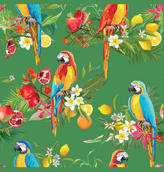 Tropical fruits flowers and parrot background vector