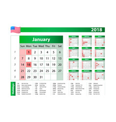2018 green yearly calendar federal holidays moon vector
