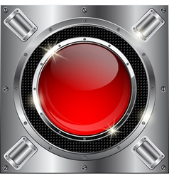 Metal background with red glass button vector
