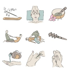 Thai massage isolated color icon set vector