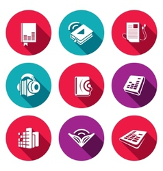 Audio book flat icons set vector