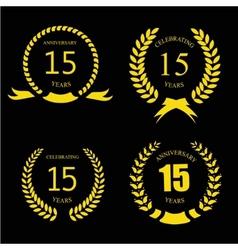 Celebrating 15 Years Anniversary - Golden Laurel vector image