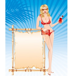 Beautiful girl in bikini with cocktail vector
