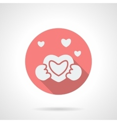 Round pink love proposal flat icon vector
