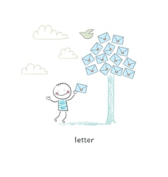 A man and a letter vector image