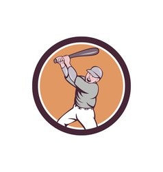 American baseball player batting homer circle vector