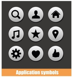 application pictogram symbols set silver color vector image