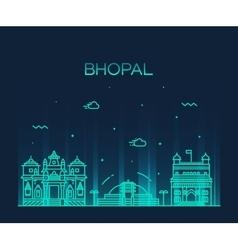 Bhopal skyline linear style vector image vector image