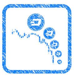 Candlestick chart dashcoin deflation framed stamp vector