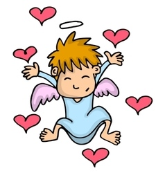 Cupid with love cartoon vector