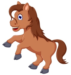 Cute horse cartoon running vector