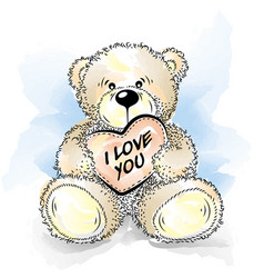 Drawing teddy bear with heart vector