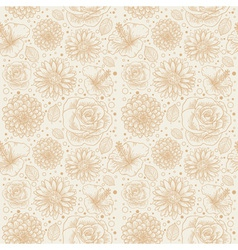 Floral seamless retro pattern vector image