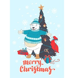 Funny Merry Christmas card with polar bear wearing vector image