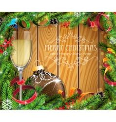 Glass of champagne and brown christmas ball vector