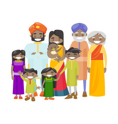 Happy extended indian family with cheerful smile vector