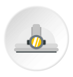 Helmet with light icon circle vector