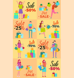 Hot sale collection of posters with shopaholics vector
