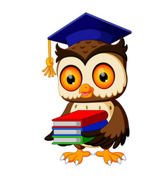 owl in the graduate carrying book vector image vector image