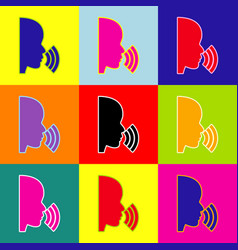 people speaking or singing sign pop-art vector image