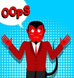 Red devil speak oops surprised by demon satan is vector
