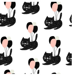 seamless childish pattern with cute cats flying vector image