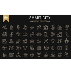 Set Flat Line Icons Smart City vector image
