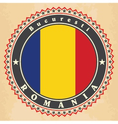 Vintage label cards of romania flag vector