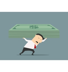 Wealthy businessman carrying stack of money vector image