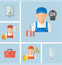 working male electrician with electrical tools vector image