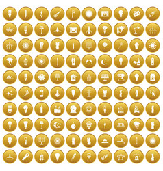 100 light source icons set gold vector