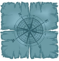 Old damaged sheet of paper with compass rose vector