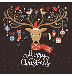 Christmas card christmas deer vector