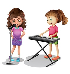 Girl singing and girl playing electronic piano vector