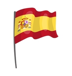 Flag of Spain icon in cartoon style isolated on vector image