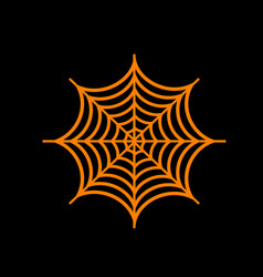 Spider on web  orange icon on black vector