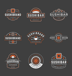 Sushi shop logos templates set objects and vector