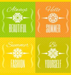 Hello summer text lettering logo set flower vector