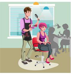 Hair stylist in a barber salon vector
