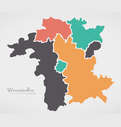 Worcestershire england map with states and modern vector
