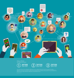 social network concept flat design for web sites vector image