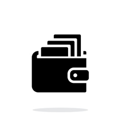 Cash in wallet icon on white background vector