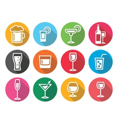 Drink alcohol beverage round flat design icons set vector