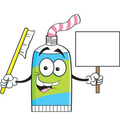 Cartoon tube of toothpaste holding a sign vector