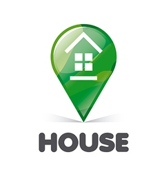 Logo green pointer home vector