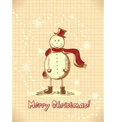 Christmas with snow man vector