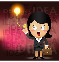 Business woman turning on idea light bulb vector