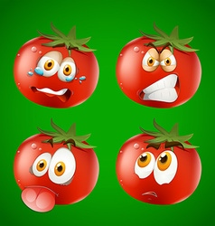 Fresh tomato with facial expression vector