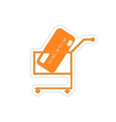 Stylish sticker on paper bank card in the cart vector
