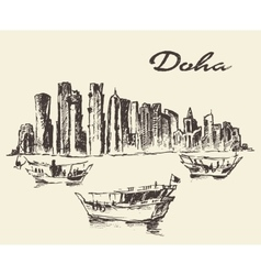 Doha skyline dhow qatar drawn sketch vector